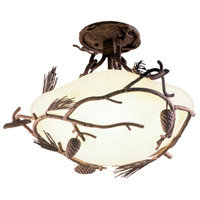 Ponderosa 3 Light 19 inch Ponderosa Semi Flush Mount Ceiling Light in Without Glass
