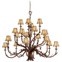 Ponderosa 20 Light 60 inch Sycamore Chandelier Ceiling Light in Without Glass, Leather-wrapped