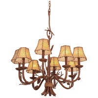 Kalco 5031PD/8045 Ponderosa 8 Light 26 inch Ponderosa Chandelier Ceiling Light in Without Glass, Leather-wrapped