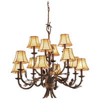 Ponderosa 12 Light 35 inch Sycamore Chandelier Ceiling Light in Without Glass, Leather-wrapped