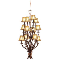 Kalco 5033PD/8045 Ponderosa 12 Light 22 inch Sycamore Foyer Light Ceiling Light in Without Glass, Leather-wrapped