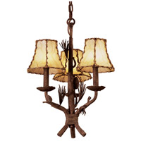 Ponderosa 3 Light 14 inch Ponderosa Chandelier Ceiling Light in Without Glass, Leather-wrapped