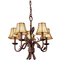 Ponderosa 5 Light 23 inch Sycamore Chandelier Ceiling Light in Without Glass, Leather-wrapped