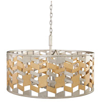 Broadway 6 Light 26 inch Jewel Metallic With Silver Leaf Pendant Ceiling Light