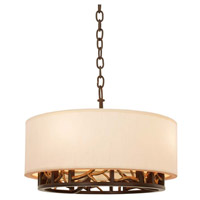 Hudson 4 Light Antique Bronze and Antique Gold Convertible Pendant or Semi Flush Ceiling Light