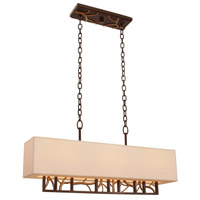 Hudson 6 Light 32 inch Antique Bronze and Antique Gold Island Light Ceiling Light
