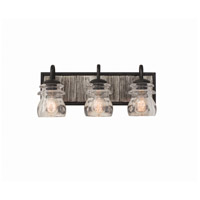 Kalco 504633BI Bainbridge 3 Light 19 inch Black Iron Vanity Light Wall Light