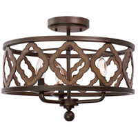 Whittaker 3 Light 18 inch Brownstone Semi Flush Mount Ceiling Light