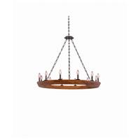 Kalco 505552BI Lansdale 12 Light 42 inch Black Iron Chandelier Ceiling Light