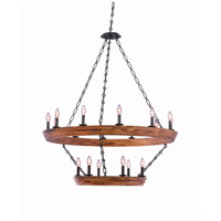Kalco Black Iron Wood Lansdale Chandeliers