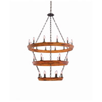 Landsdale 24 Light 42 inch Black Iron Chandelier Ceiling Light