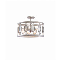 Kalco 506141VSL Palomar 3 Light 16 inch Vintage Silver Leaf Semi Flush Mount Ceiling Light