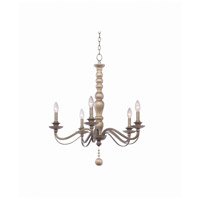 Kalco 506351DS Colony 5 Light 27 inch Dune Silver Chandelier Ceiling Light