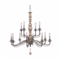 Kalco 506353DS Colony 12 Light Dune Silver Chandelier Ceiling Light