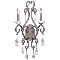 Kalco 506722CI Palladium 2 Light 14 inch Country Iron Wall Sconce Wall Light