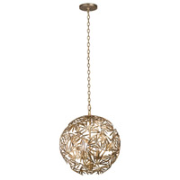 Jardin 4 Light 18 inch Oxidized Gold Leaf Pendant Ceiling Light