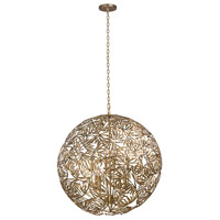 Jardin 8 Light 32 inch Oxidized Gold Leaf Pendant Ceiling Light