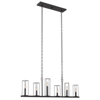 Kalco 507760BI Allston 6 Light 46 inch Black Iron Island Light Ceiling Light