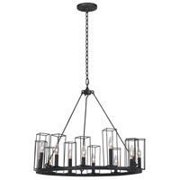 Kalco 507770BI Allston 12 Light 28 inch Black Iron Chandelier Ceiling Light