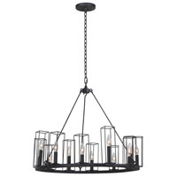 Kalco 507770BI Allston 12 Light 28 inch Black Iron Chandelier Ceiling Light