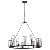 Kalco 507771BI Allston 15 Light 36 inch Black Iron Chandelier Ceiling Light