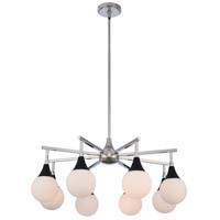 Kalco 508570BPN Bogart 8 Light 28 inch Matte Black with Polished Nickel Chandelier Ceiling Light