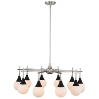 Kalco 508571BPN Bogart 10 Light 32 inch Matte Black with Polished Nickel Chandelier Ceiling Light