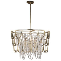 Kalco 508851CSL Dulce 6 Light 28 inch Champagne Silver Leaf Pendant Ceiling Light