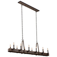 Kalco 508962SZ Duluth 12 Light 60 inch Satin Bronze Island Ceiling Light