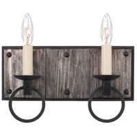 Kalco 509232BI Laramie 2 Light 12 inch Black Iron Vanity Light Wall Light