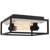 Kalco 512042MB Plaza 2 Light 11 inch Matte Black/Polished Nickel Flush Mount Ceiling Light
