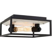 Kalco 512042MB Plaza 2 Light 11 inch Matte Black/Polished Nickel Flush Mount Ceiling Light