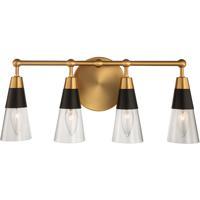 Kalco 513134BNB Ponti 19 inch Matte Black with New Brass Bath Wall Light