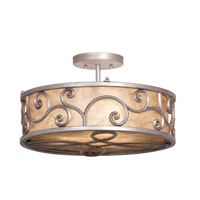 Windsor 3 Light 17 inch Antique Copper Semi Flush Ceiling Light in Without Shade, Aged Silver