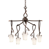 Preston 5 Light 24 inch Antique Copper Chandelier Ceiling Light in Frost (FROST)