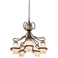 Monaco 5 Light 28 inch Antique Copper Chandelier Ceiling Light in SHELL