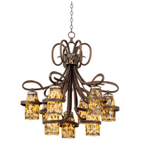 Kalco Antique Copper Crystal Monaco Chandeliers