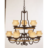 Durango 9 Light 36 inch Antique Copper Chandelier Ceiling Light in Antique Linen, Tawny Port