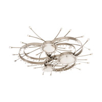 Galaxy 3 Light 64 inch Brushed Stainless Steel Semi Flush Mount Ceiling Light in Without Glass
