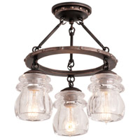 Brierfield 3 Light 14 inch Antique Copper Semi Flush Mount Ceiling Light