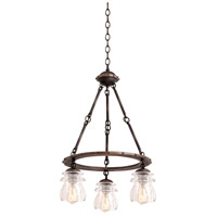Kalco 6319AC Brierfield 3 Light 18 inch Antique Copper Chandelier Ceiling Light