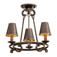 Fairford 3 Light 16 inch Vintage Iron Semi Flush Ceiling Light