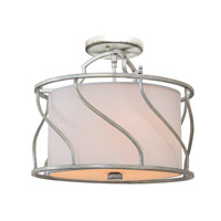 Kalco Helix 3 Light Semi Flush in Aged Silver 6415SV