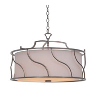 Helix 5 Light 24 inch Aged Silver Semi Flush Ceiling Light, Convertible Pendant