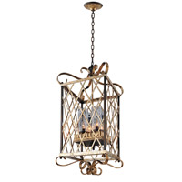 Trellis 4 Light 16 inch Antique Silver Leaf Foyer Chandelier Ceiling Light