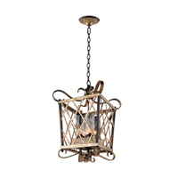 Trellis 4 Light 15 inch Antique Silver Leaf Pendant Ceiling Light