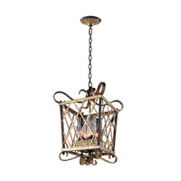 Kalco Trellis 4 Light Pendant in Antique Silver Leaf 6531ASL