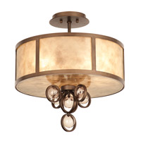 Sandhurst 3 Light 16 inch Etruscan Bronze Semi Flush Ceiling Light