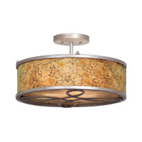 Whitfield 3 Light 17 inch Antique Copper Semi Flush Ceiling Light in Without Shade, Aged Silver