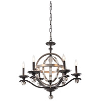 Kalco Rothwell 6 Light Chandelier in Polished Satin Nickel 6597PSN